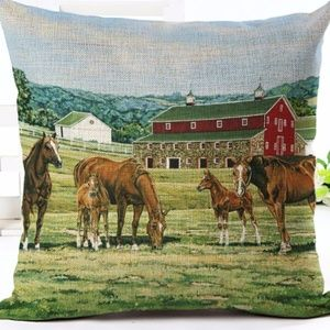 Other - Pillow Cover-New- Kentucky Horse Farm Barn Country